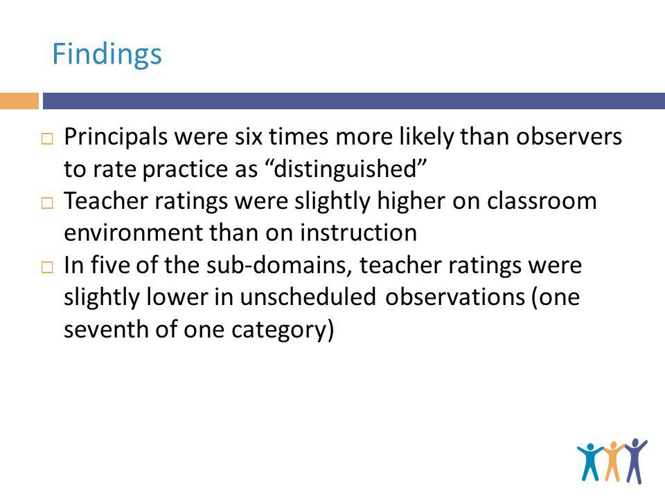 Findings Principals were six times more likely than observers to rate practice as distinguished Teacher ratings were slightly higher on classroom environment than on instruction In five of the sub-domains, teacher ratings were slightly lower in unscheduled observations (one seventh of one category)