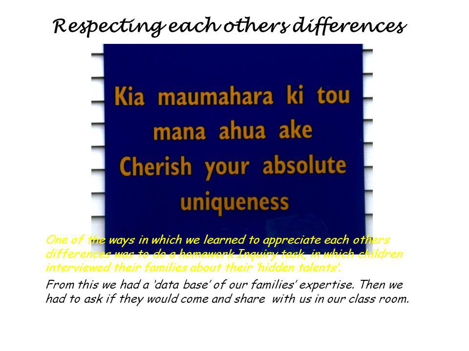 Respecting each others differences One of the ways in which we learned to appreciate each others differences was to do a homework Inquiry task, in which children interviewed their families about their hidden talents.