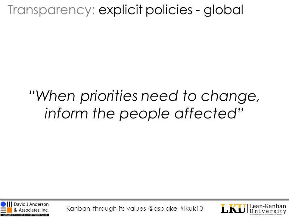 Kanban through its values @asplake #lkuk13 When priorities need to change, inform the people affected Transparency: explicit policies - global