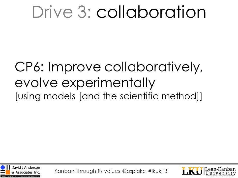 Kanban through its values @asplake #lkuk13 CP6: Improve collaboratively, evolve experimentally [using models [and the scientific method]] Drive 3: collaboration