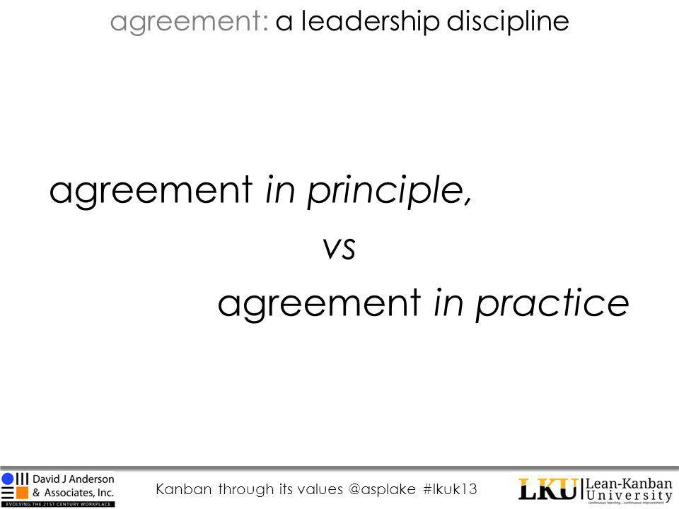 Kanban through its values @asplake #lkuk13 agreement in principle, vs agreement in practice agreement: a leadership discipline