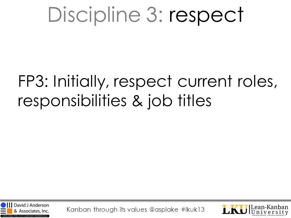 Kanban through its values @asplake #lkuk13 FP3: Initially, respect current roles, responsibilities & job titles Discipline 3: respect
