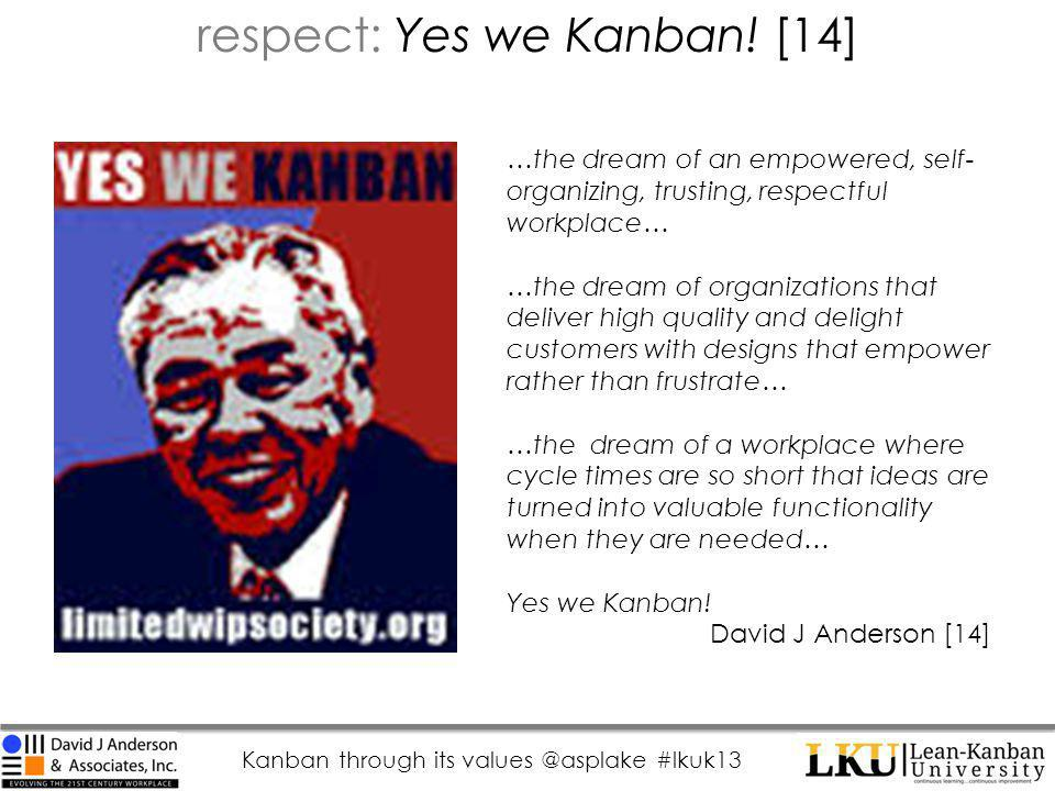 Kanban through its values @asplake #lkuk13 respect: Yes we Kanban.