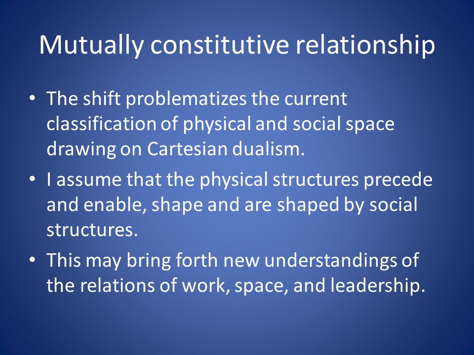 Mutually constitutive relationship The shift problematizes the current classification of physical and social space drawing on Cartesian dualism. I ass