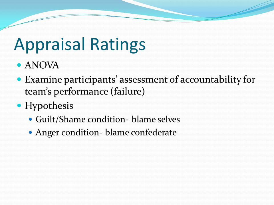 Appraisal Ratings ANOVA Examine participants assessment of accountability for teams performance (failure) Hypothesis Guilt/Shame condition- blame selves Anger condition- blame confederate