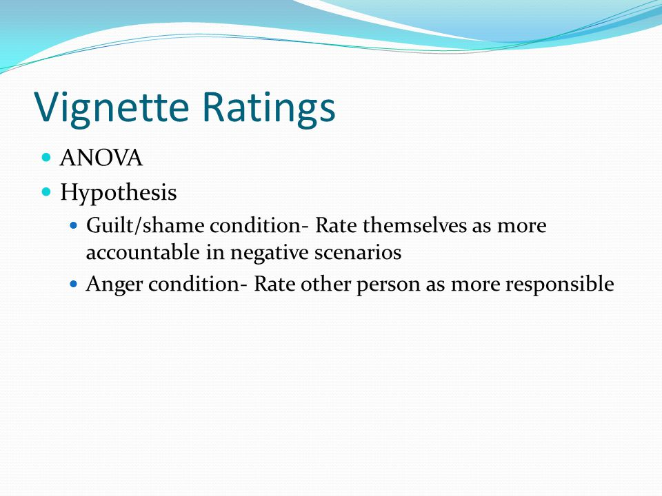 Vignette Ratings ANOVA Hypothesis Guilt/shame condition- Rate themselves as more accountable in negative scenarios Anger condition- Rate other person as more responsible