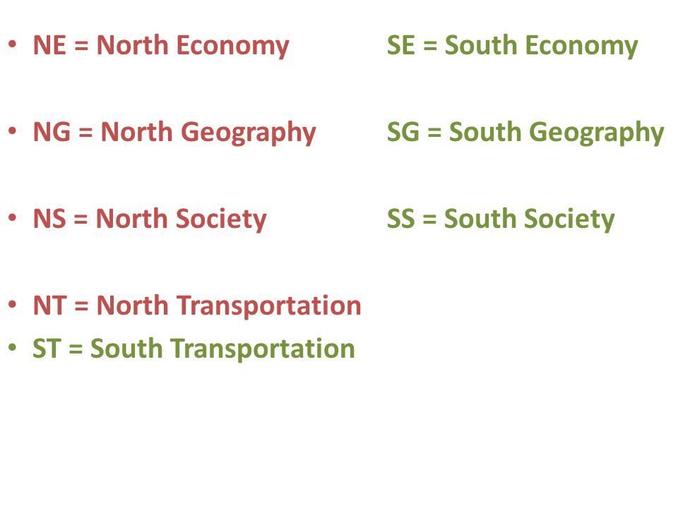 NE = North Economy SE = South Economy NG = North Geography SG = South Geography NS = North Society SS = South Society NT = North Transportation ST = South Transportation