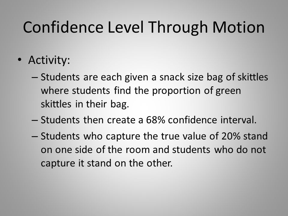 Confidence Level Through Motion Activity: – Students are each given a snack size bag of skittles where students find the proportion of green skittles
