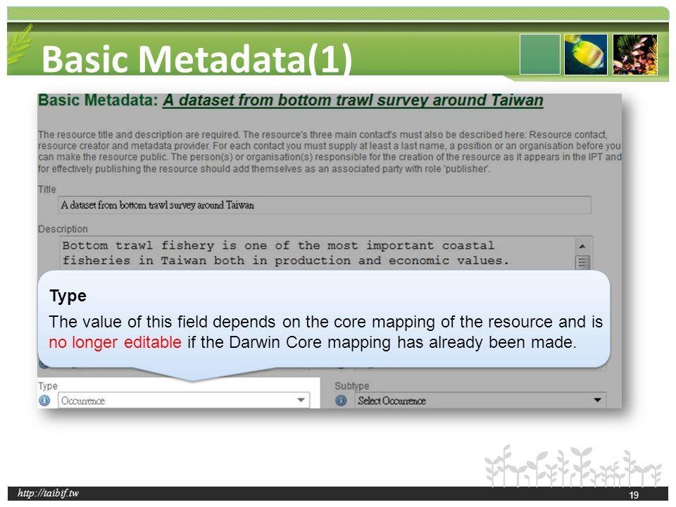 http://taibif.tw Basic Metadata(1) Type The value of this field depends on the core mapping of the resource and is no longer editable if the Darwin Co