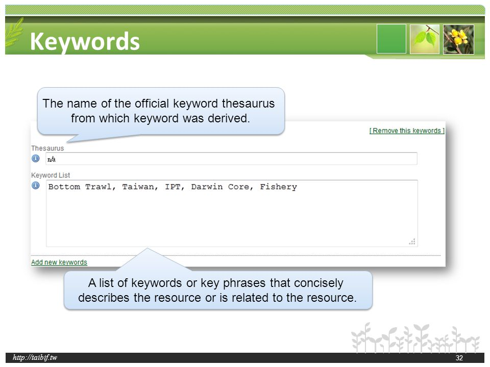 http://taibif.tw Keywords The name of the official keyword thesaurus from which keyword was derived.