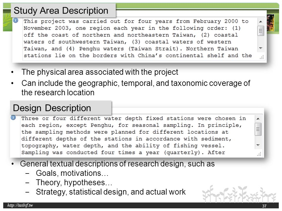 http://taibif.tw Study Area Description Design Description General textual descriptions of research design, such as Goals, motivations… Theory, hypoth