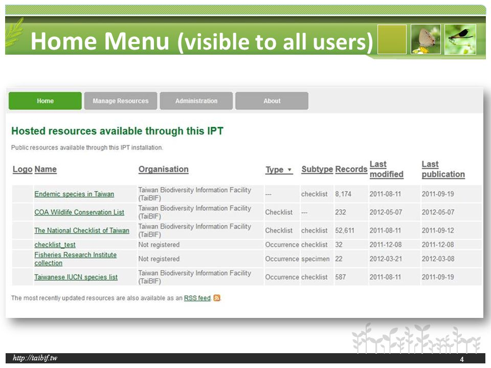 http://taibif.tw Home Menu (visible to all users) 4