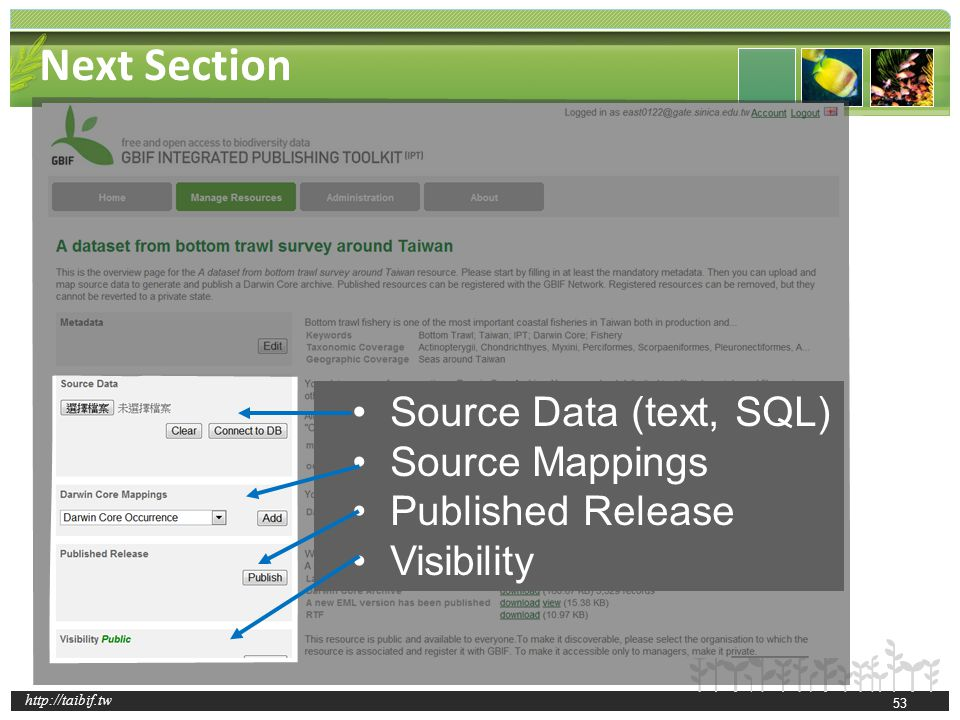 http://taibif.tw 53 Next Section Source Data (text, SQL) Source Mappings Published Release Visibility