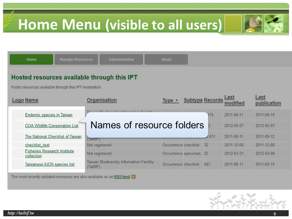 http://taibif.tw Home Menu (visible to all users) Click to view the detailed metadata 7