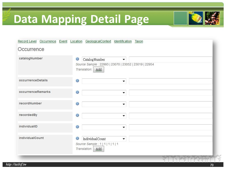 http://taibif.tw Data Mapping Detail Page 70