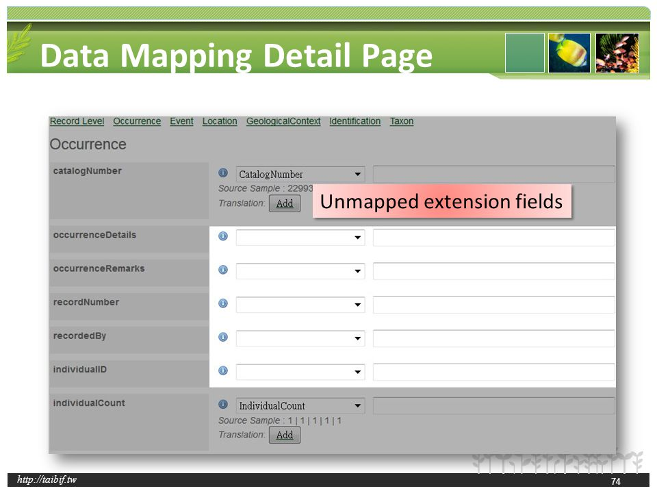 http://taibif.tw Data Mapping Detail Page Unmapped extension fields 74
