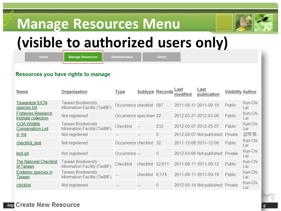 http://taibif.tw Basic Metadata Geographic Coverage Taxonomic Coverage Temporal Coverage Keywords Associated Parties Project Data Sampling Methods Citations Collection Data External links Additional Metadata information about other aspects of the resource not captured on one of the other metadata pages, including alternative identifiers for the resource 49