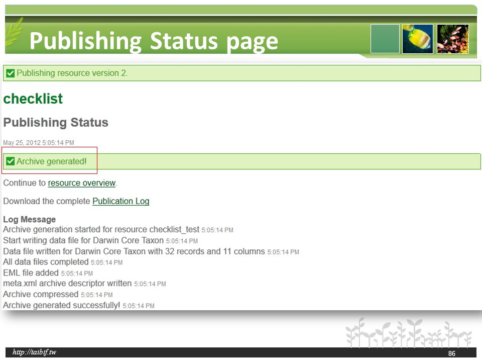 http://taibif.tw Publishing Status page 86