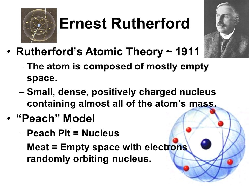 rutherfords atom theory explained Rutherford explained this phenomenon with a revitalized model of the atom in which most of the mass was concentrated into a compact nucleus (holding all of the positive charge), with electrons occupying the bulk of the atom's space and orbiting the nucleus at a distance.