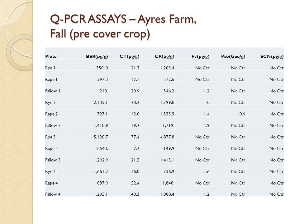 Q-PCR ASSAYS – Ayres Farm, Fall (pre cover crop) PlotsBSR(pg/g)CT(pg/g)CR(pg/g)Fv(pg/g)Pso(Geq/g)SCN(pg/g) Rye 1 350.