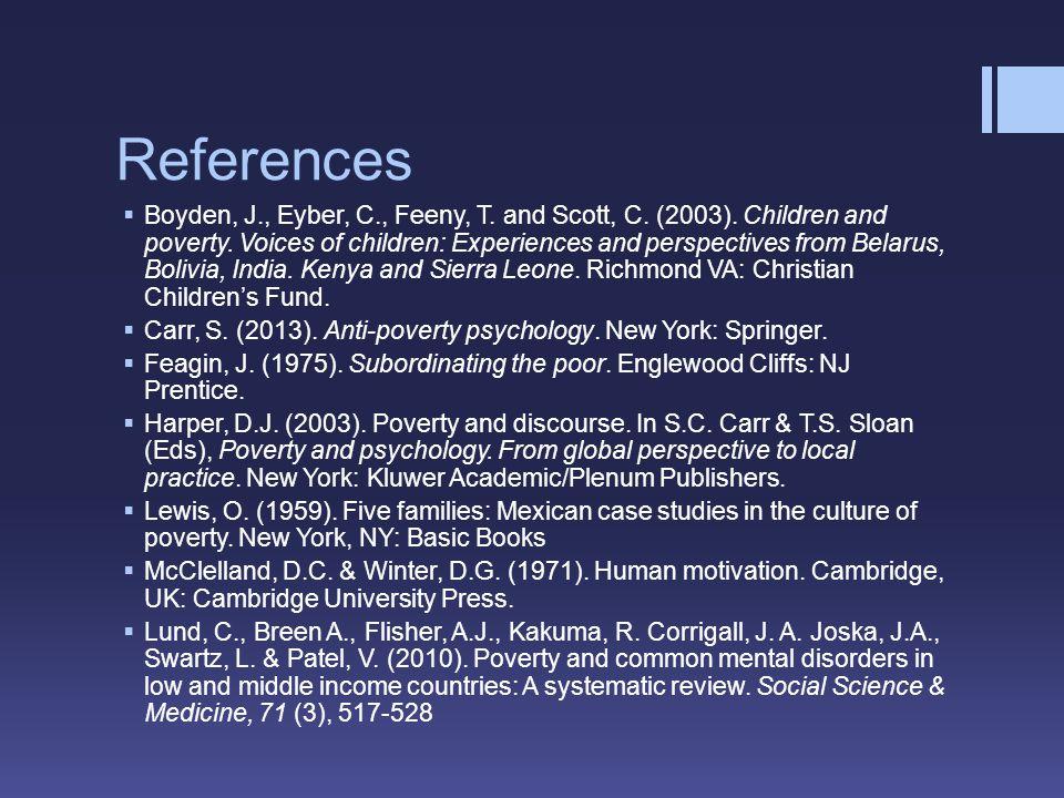 References Boyden, J., Eyber, C., Feeny, T. and Scott, C.