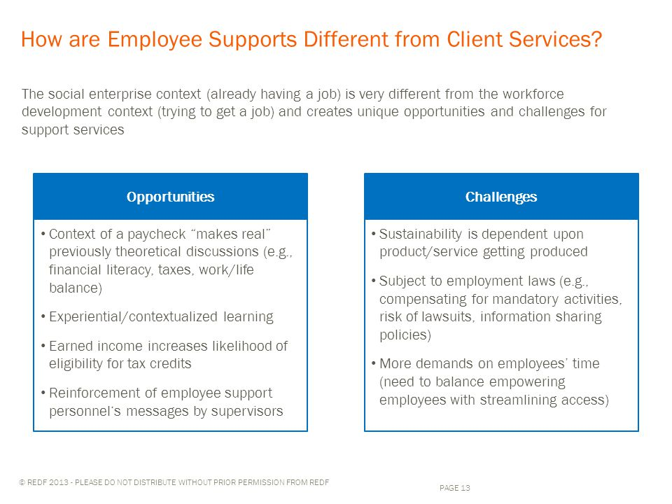 © REDF 2013 - PLEASE DO NOT DISTRIBUTE WITHOUT PRIOR PERMISSION FROM REDF How are Employee Supports Different from Client Services.