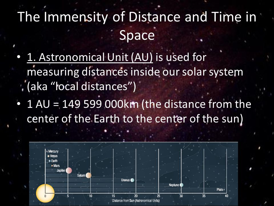 The Immensity of Distance and Time in Space 1. Astronomical Unit (AU) is used for measuring distances inside our solar system (aka local distances) 1