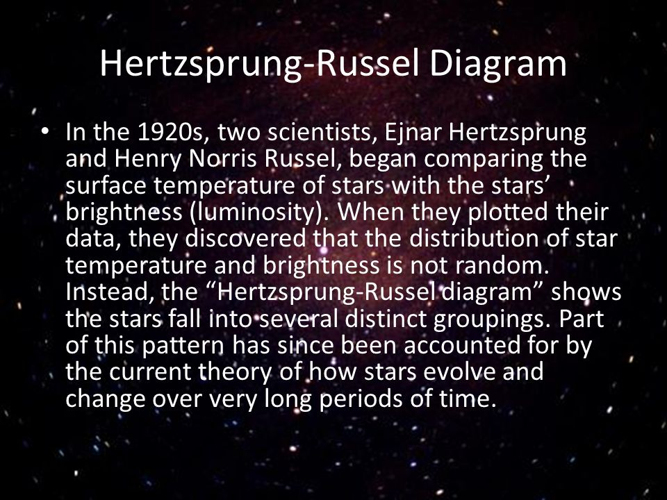 Hertzsprung-Russel Diagram In the 1920s, two scientists, Ejnar Hertzsprung and Henry Norris Russel, began comparing the surface temperature of stars w
