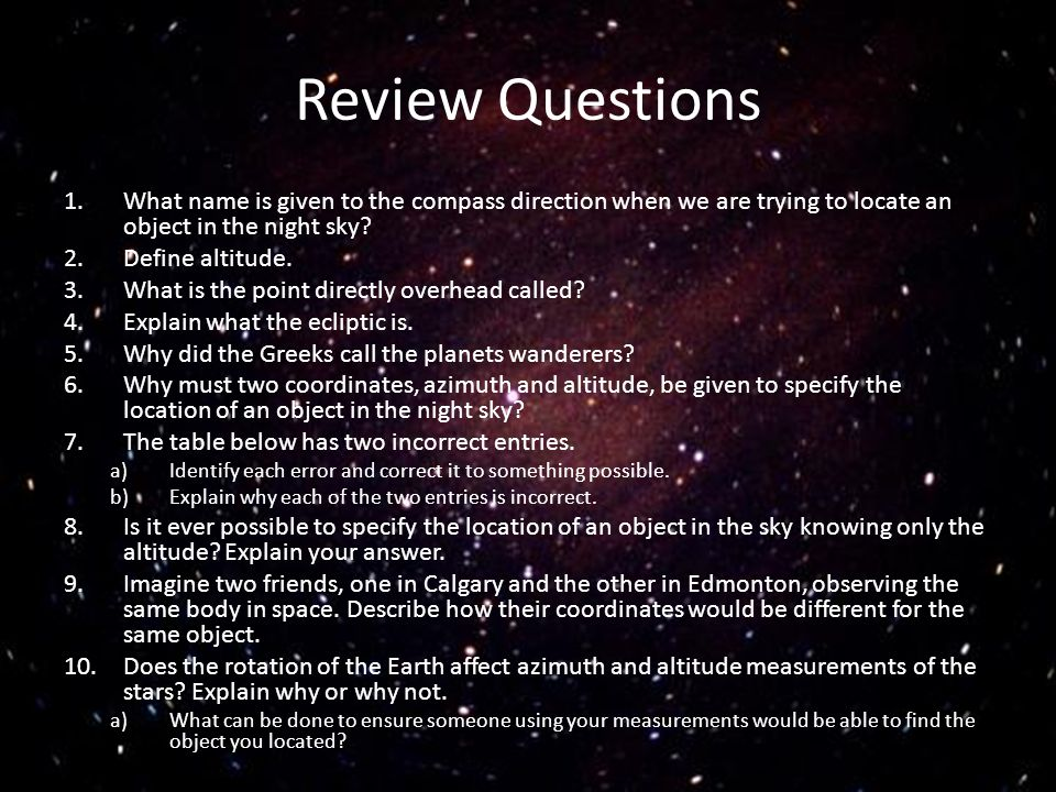 Review Questions 1.What name is given to the compass direction when we are trying to locate an object in the night sky? 2.Define altitude. 3.What is t