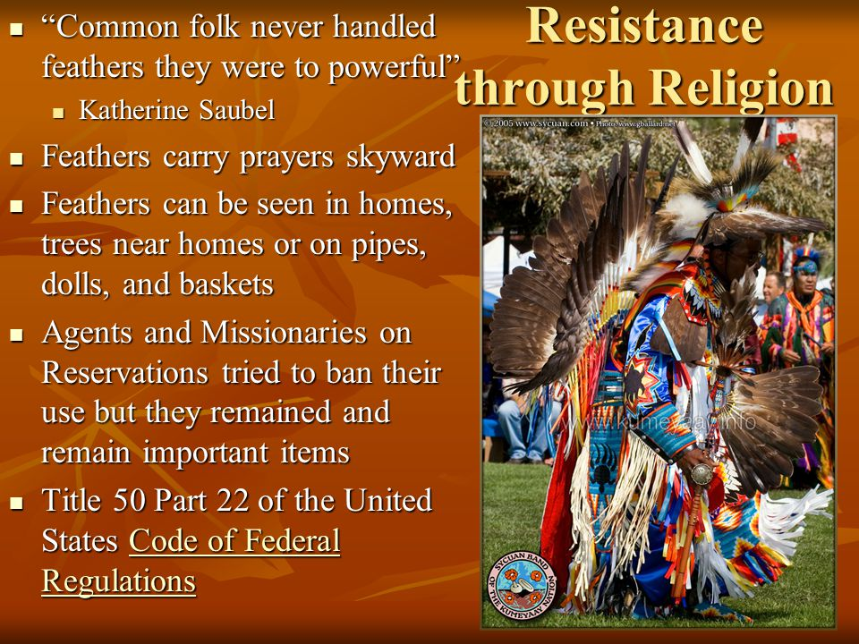 Resistance through Religion Common folk never handled feathers they were to powerful Common folk never handled feathers they were to powerful Katherine Saubel Katherine Saubel Feathers carry prayers skyward Feathers carry prayers skyward Feathers can be seen in homes, trees near homes or on pipes, dolls, and baskets Feathers can be seen in homes, trees near homes or on pipes, dolls, and baskets Agents and Missionaries on Reservations tried to ban their use but they remained and remain important items Agents and Missionaries on Reservations tried to ban their use but they remained and remain important items Title 50 Part 22 of the United States Code of Federal Regulations Title 50 Part 22 of the United States Code of Federal RegulationsCode of Federal RegulationsCode of Federal Regulations