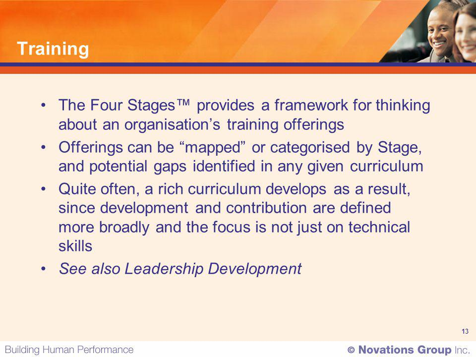 13 Training The Four Stages provides a framework for thinking about an organisations training offerings Offerings can be mapped or categorised by Stag