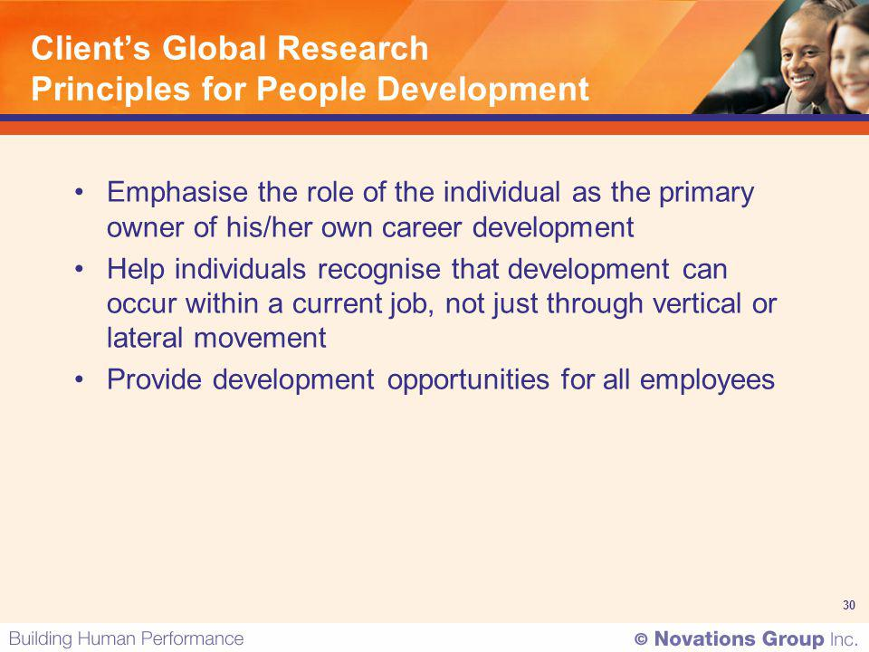 30 Clients Global Research Principles for People Development Emphasise the role of the individual as the primary owner of his/her own career developme