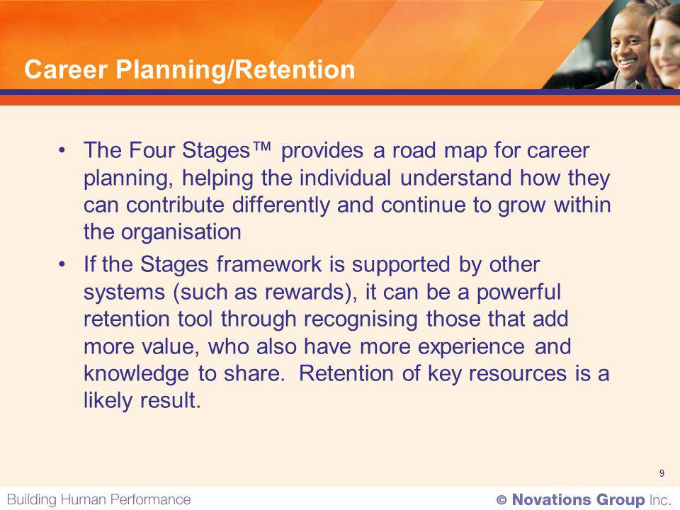9 Career Planning/Retention The Four Stages provides a road map for career planning, helping the individual understand how they can contribute differe