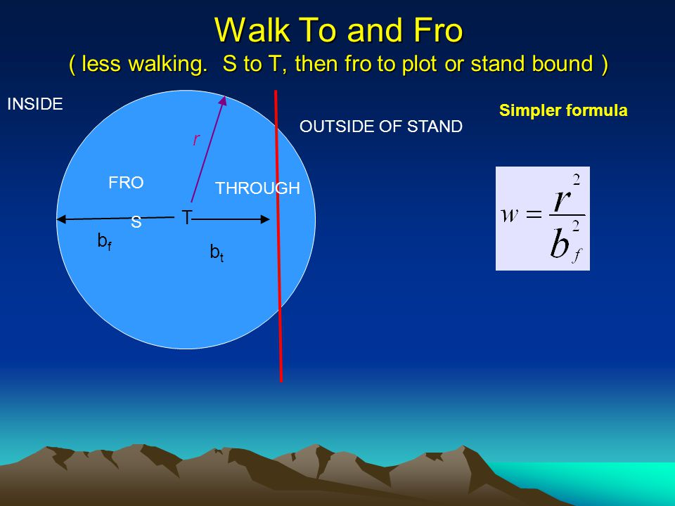 Walk To and Fro ( less walking. S to T, then fro to plot or stand bound ) OUTSIDE OF STAND INSIDE T bfbf btbt S THROUGH FRO r Simpler formula