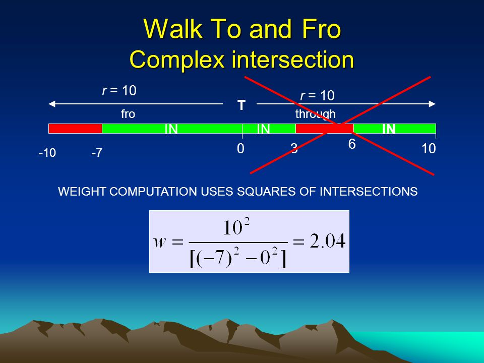 Walk To and Fro Complex intersection T r = 10 -10-7 03 6 10 IN WEIGHT COMPUTATION USES SQUARES OF INTERSECTIONS throughfro