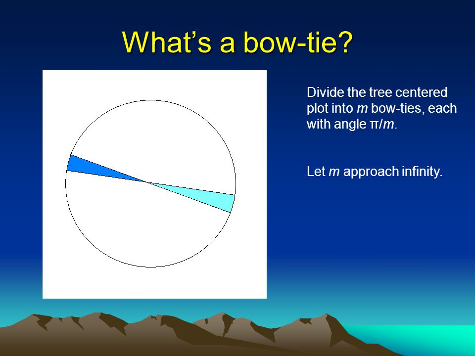 Whats a bow-tie? Divide the tree centered plot into m bow-ties, each with angle π/m. Let m approach infinity.