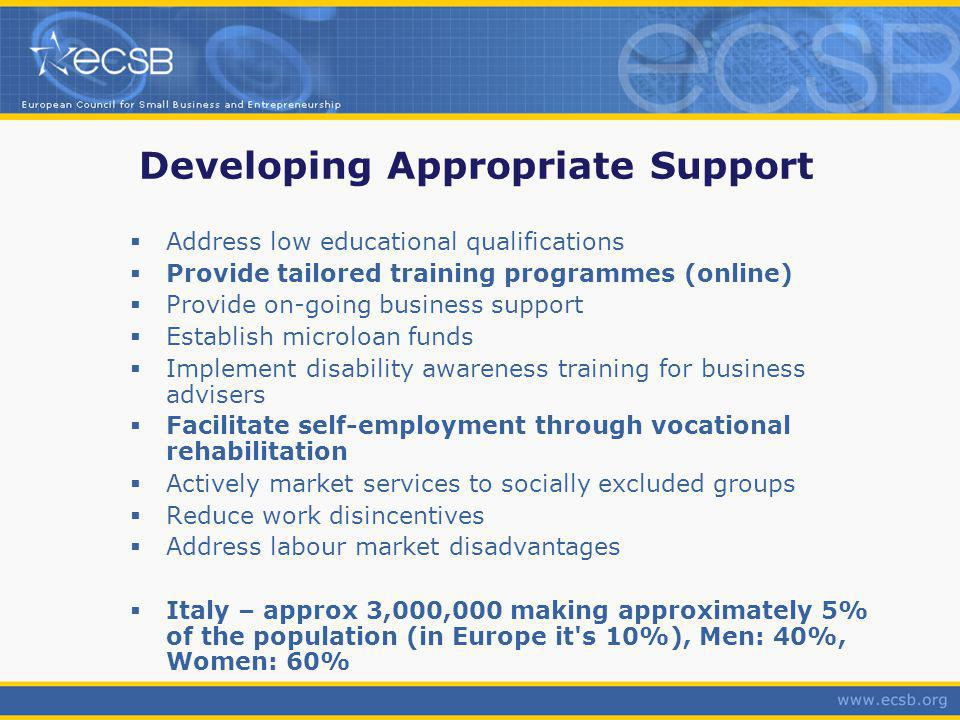 Developing Appropriate Support Address low educational qualifications Provide tailored training programmes (online) Provide on-going business support Establish microloan funds Implement disability awareness training for business advisers Facilitate self-employment through vocational rehabilitation Actively market services to socially excluded groups Reduce work disincentives Address labour market disadvantages Italy – approx 3,000,000 making approximately 5% of the population (in Europe it s 10%), Men: 40%, Women: 60%