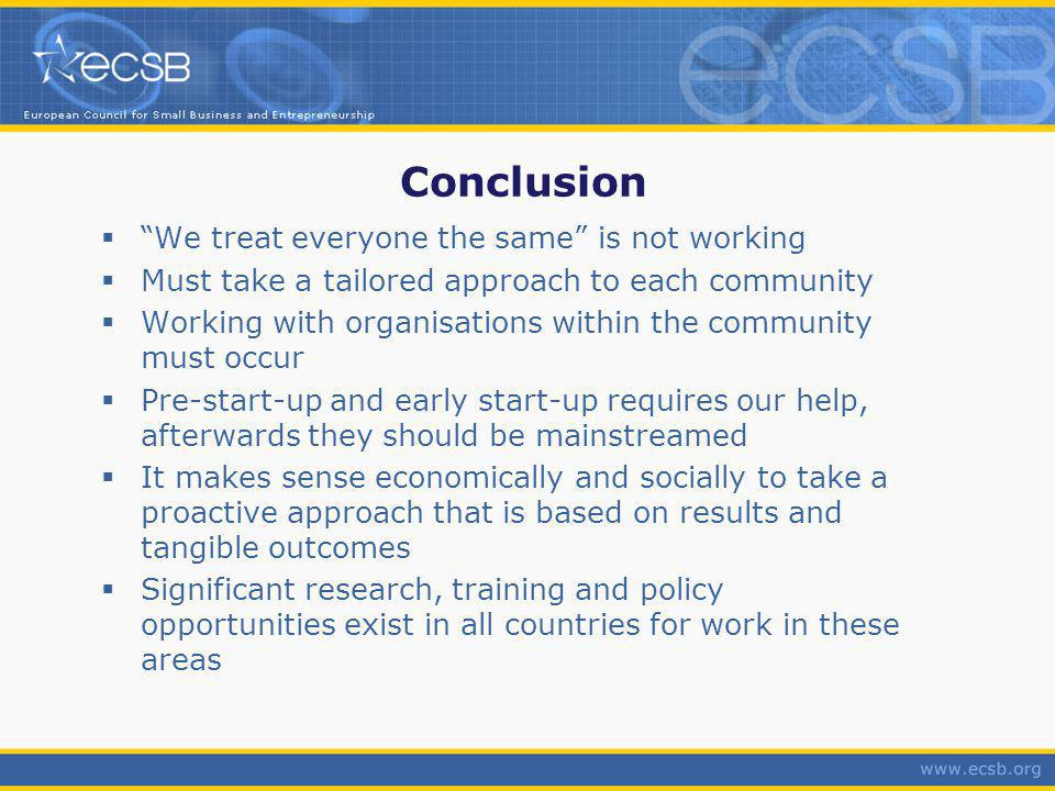 Conclusion We treat everyone the same is not working Must take a tailored approach to each community Working with organisations within the community must occur Pre-start-up and early start-up requires our help, afterwards they should be mainstreamed It makes sense economically and socially to take a proactive approach that is based on results and tangible outcomes Significant research, training and policy opportunities exist in all countries for work in these areas