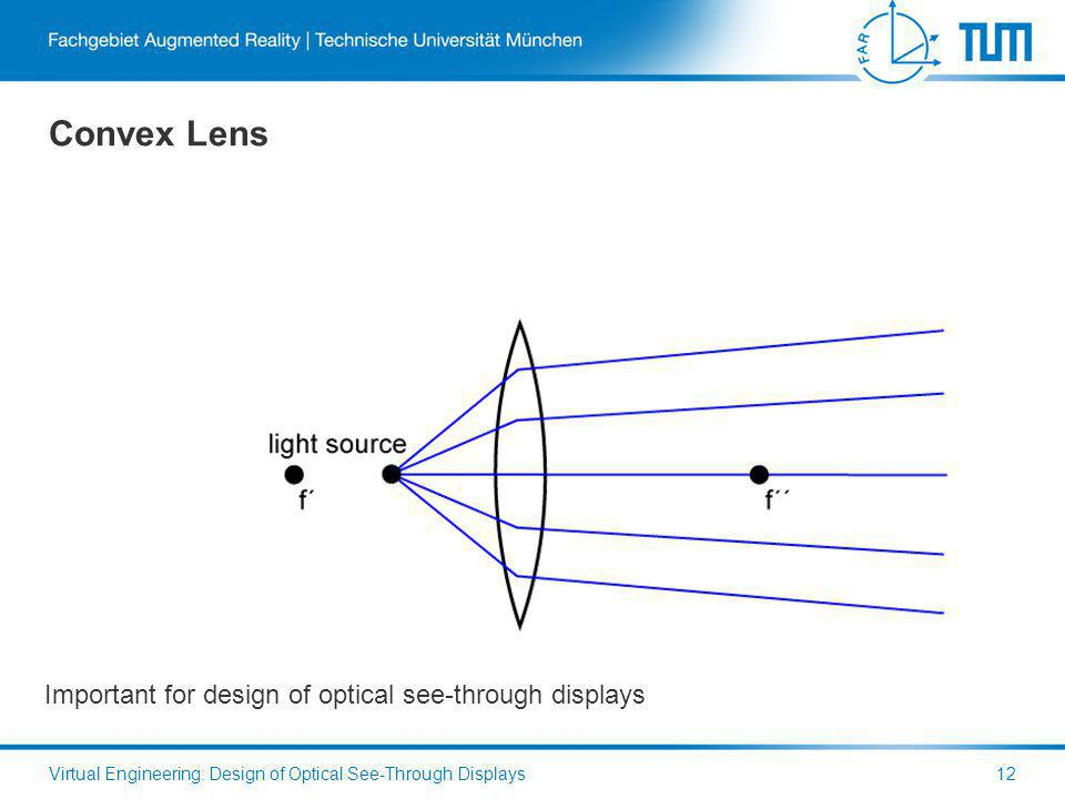 Convex Lens Virtual Engineering: Design of Optical See-Through Displays12 Important for design of optical see-through displays