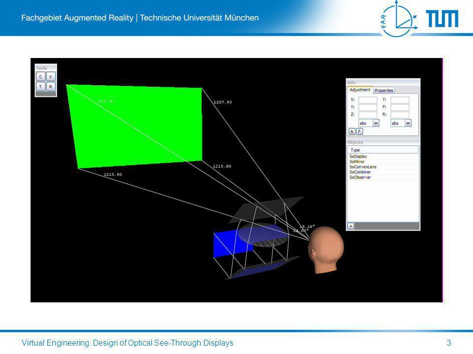 Virtual Engineering: Design of Optical See-Through Displays3