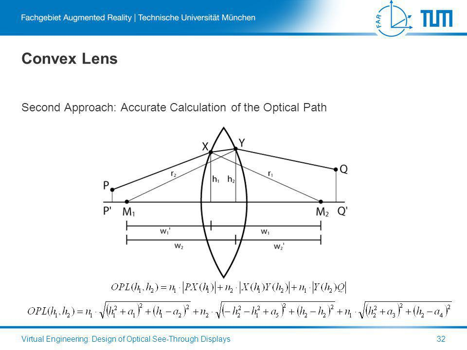 Convex Lens Second Approach: Accurate Calculation of the Optical Path Virtual Engineering: Design of Optical See-Through Displays32