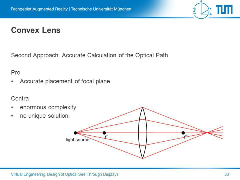 Convex Lens Second Approach: Accurate Calculation of the Optical Path Pro Accurate placement of focal plane Contra enormous complexity no unique solution: Virtual Engineering: Design of Optical See-Through Displays33