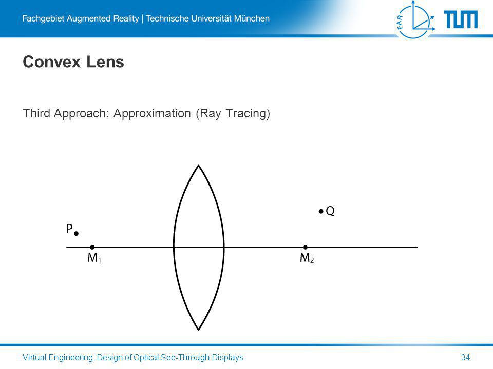 Convex Lens Third Approach: Approximation (Ray Tracing) Virtual Engineering: Design of Optical See-Through Displays34