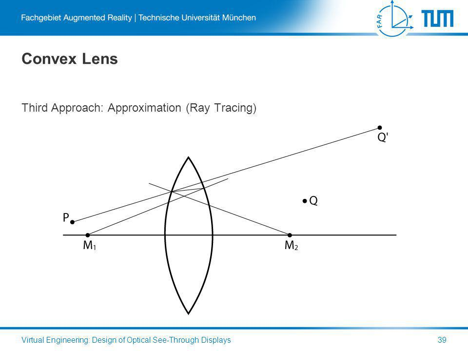 Convex Lens Third Approach: Approximation (Ray Tracing) Virtual Engineering: Design of Optical See-Through Displays39