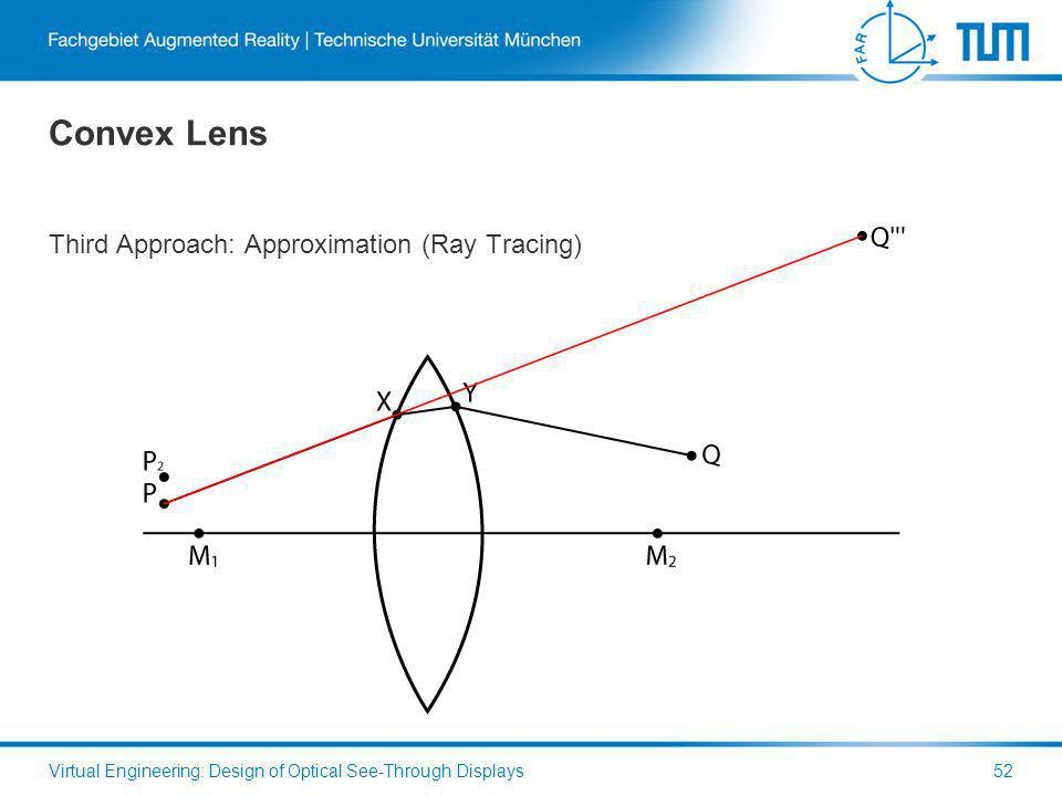Convex Lens Third Approach: Approximation (Ray Tracing) Virtual Engineering: Design of Optical See-Through Displays52