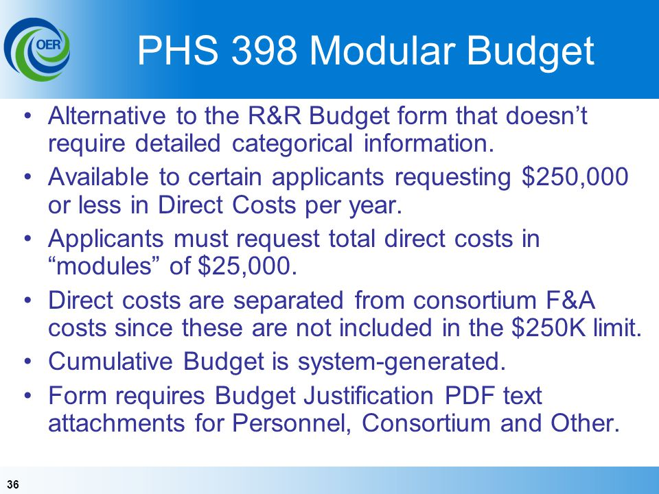 36 PHS 398 Modular Budget Alternative to the R&R Budget form that doesnt require detailed categorical information.