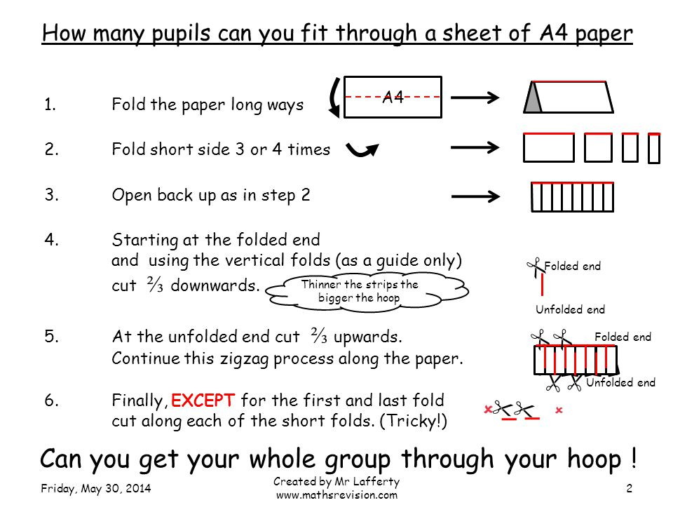Folded end Unfolded end 1.Fold the paper long ways A4 2.Fold short side 3 or 4 times 3.Open back up as in step 2 4.Starting at the folded end and using the vertical folds (as a guide only) cut downwards.