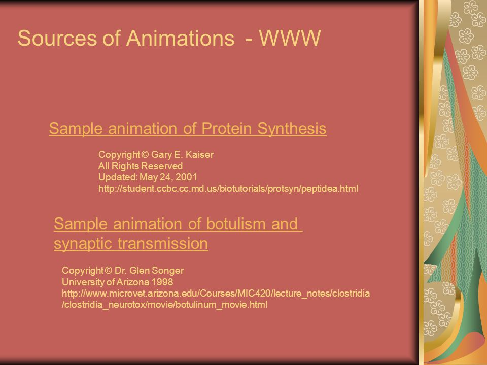 Sources of Animations Get from textbook Publisher (Contact McGraw-Hill for Lewis Life 4e animations)Lewis Life
