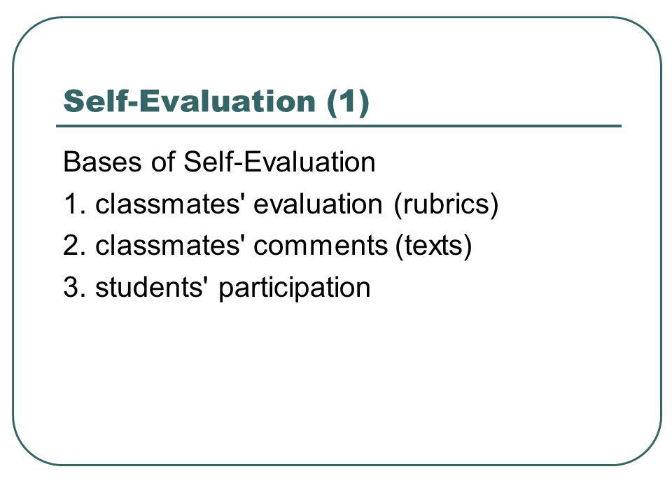 Self-Evaluation (1) Bases of Self-Evaluation 1. classmates' evaluation (rubrics) 2. classmates' comments (texts) 3. students' participation