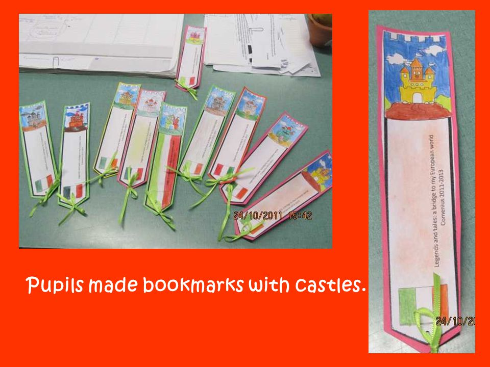 Pupils made bookmarks with castles.